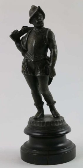 Antique Spanish Conquistador Metal Sculpture