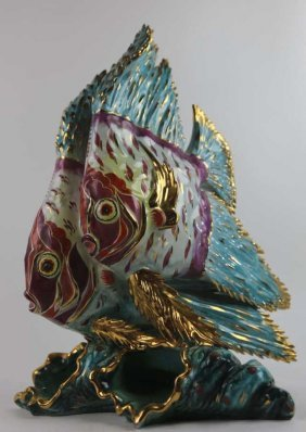 Palatial Porcelain Angelfish Sculpture