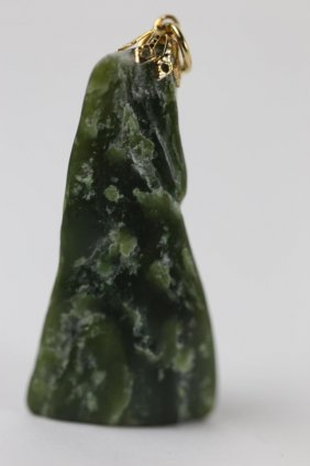 Chinese Spinach Jade And Gold Pendant