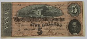 Richmond Va 1864 Confederate $5 Note