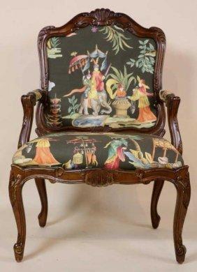 French Mahogany Custom Upholstered Armchair