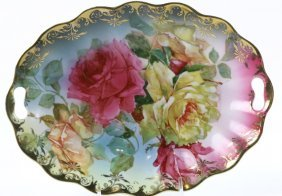 Antique Scalloped Edge Floral Oval Serving Dish
