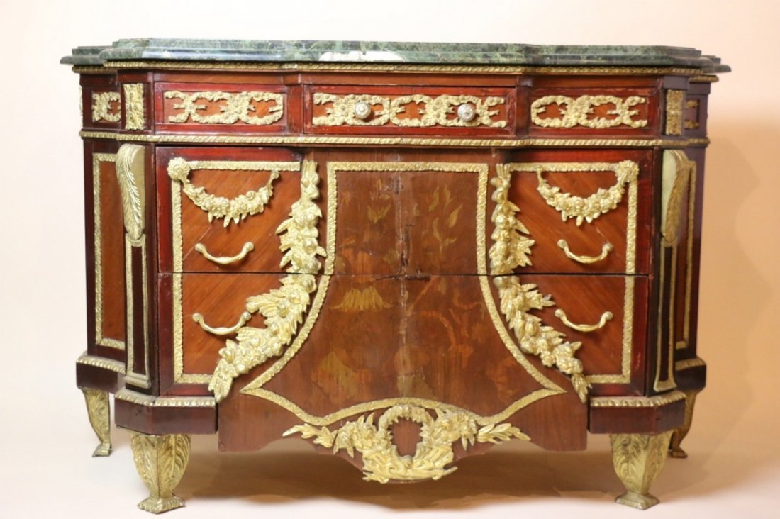 FRENCH BRONZE MOUNTED MARBLE TOP COMMODE