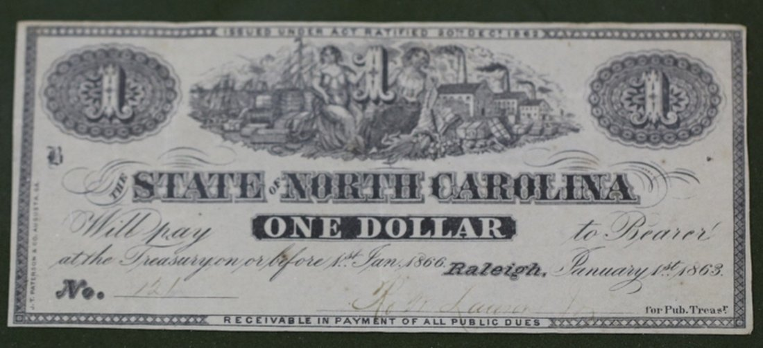 1863 CONFEDERATE STATE OF NC ONE DOLLAR (RALEIGH)
