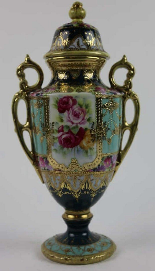 ANTIQUE NIPPON JEWELED TWIN HANDELED VASE