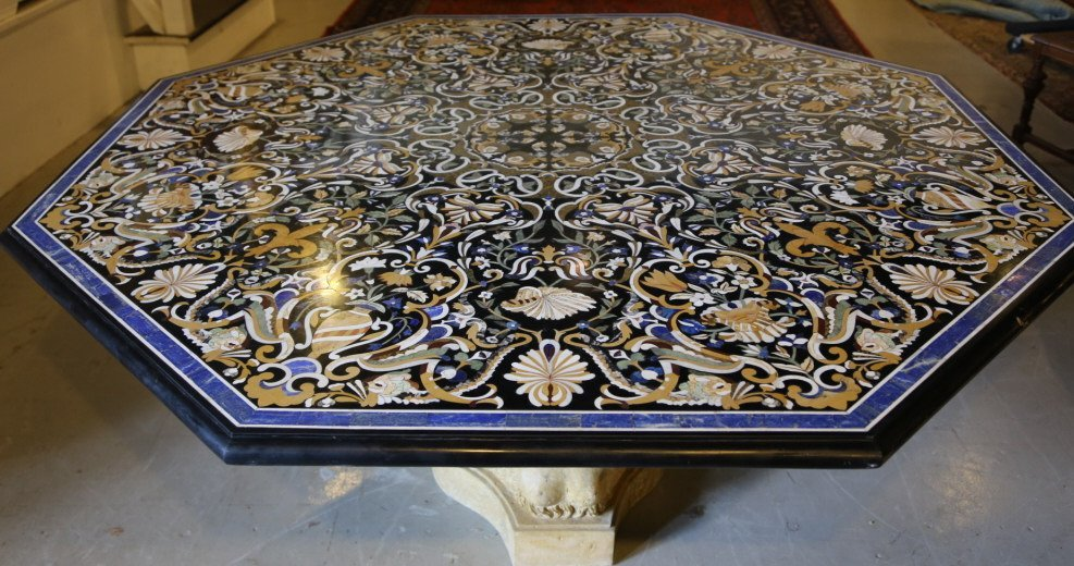 ITALIAN PIETRA DURA TABLE / CARVED MARBLE BASE
