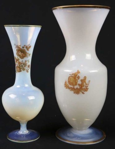 FRENCH  ANTIQUE GROUPING OF TWO OPALINE VASES