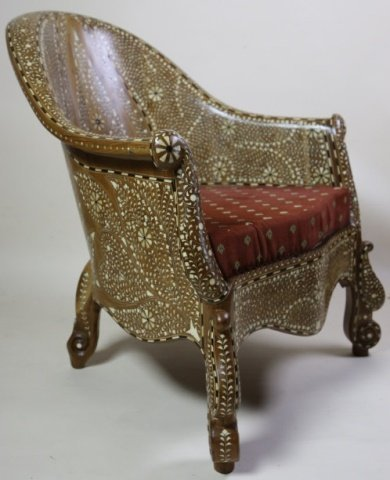 ANGLO INDIAN BONE INLAID HAND CARVED ARMCHAIR