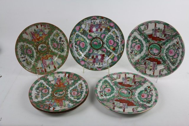 CHINESE ROSE MEDALLION GROUPING