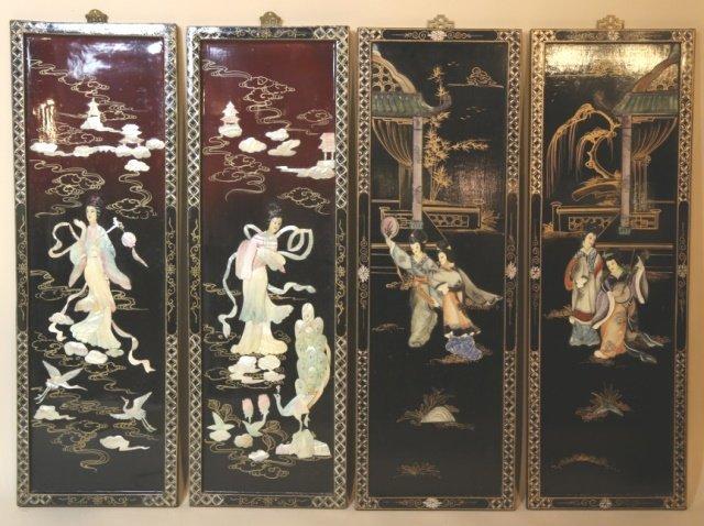 ASIAN CHINOISERIE HARD STONE PANEL PAIRS