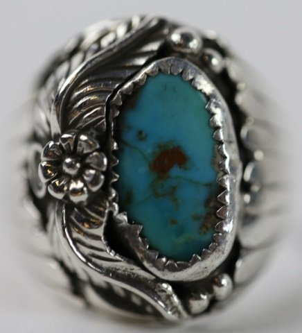 NATIVE AMERICAN STERLING SILVER TURQUOISE  RING - 2