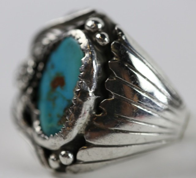 NATIVE AMERICAN STERLING SILVER TURQUOISE  RING - 3