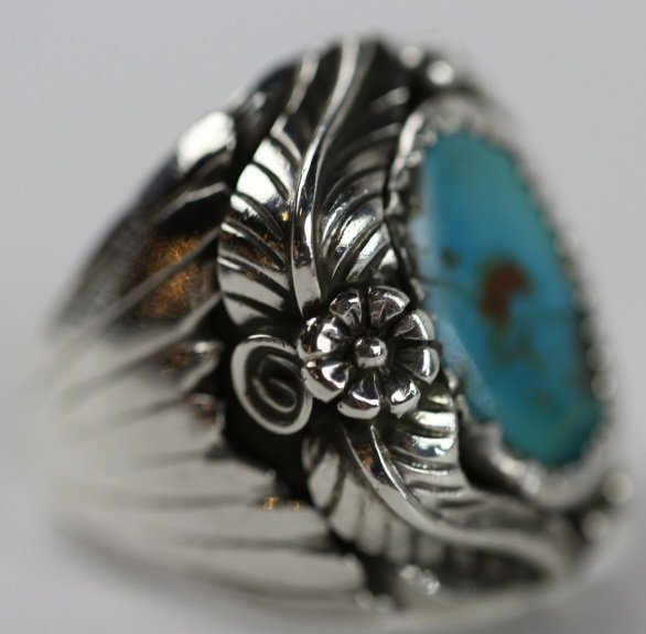 NATIVE AMERICAN STERLING SILVER TURQUOISE  RING - 4