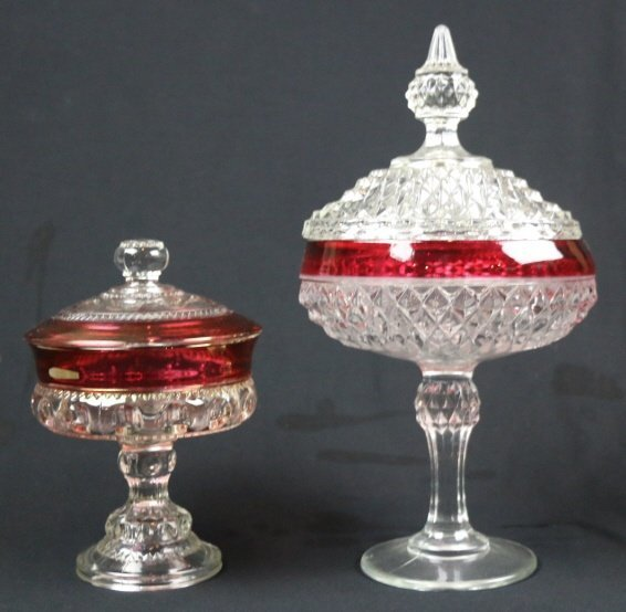 VINTAGE CRANBERRY TO CLEAR LIDDED COMPOTES