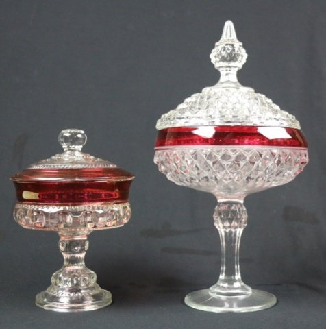 VINTAGE CRANBERRY TO CLEAR LIDDED COMPOTES - 2