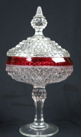 VINTAGE CRANBERRY TO CLEAR LIDDED COMPOTES - 3