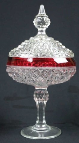 VINTAGE CRANBERRY TO CLEAR LIDDED COMPOTES - 4