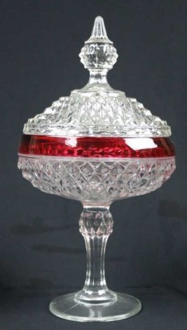 VINTAGE CRANBERRY TO CLEAR LIDDED COMPOTES - 5