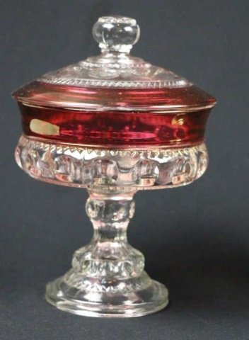 VINTAGE CRANBERRY TO CLEAR LIDDED COMPOTES - 7