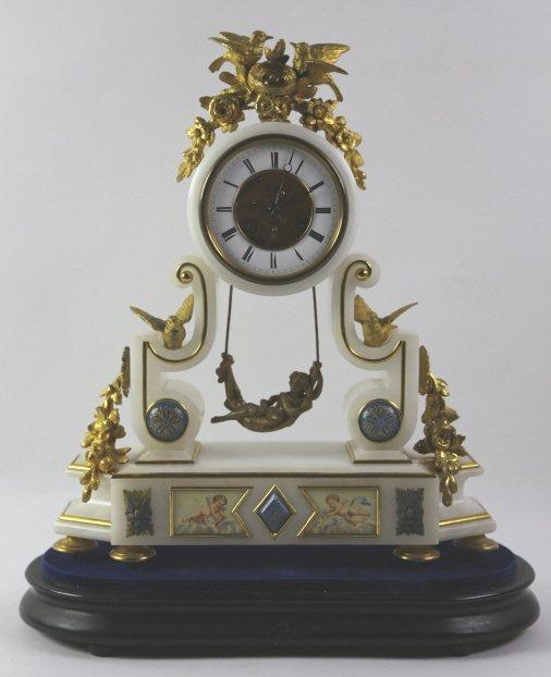 FRENCH BRONZE & ALIBASTER CLOCK (JOSEPH FARCOT)