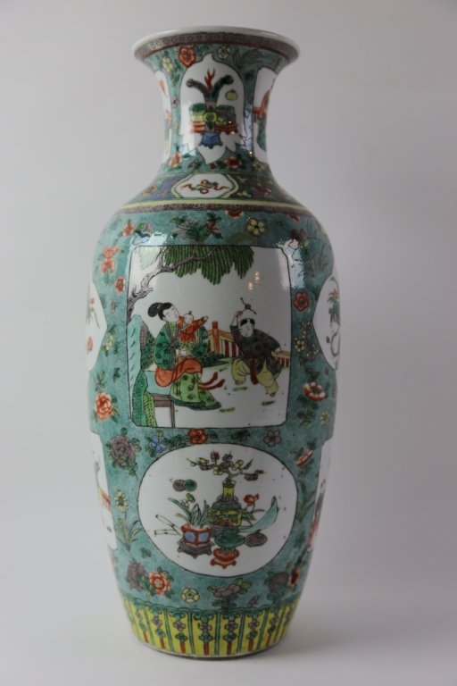 CHINESE ANTIQUE FAMILLE VERTE PORCELAIN VASE - 5