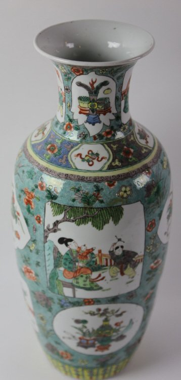 CHINESE ANTIQUE FAMILLE VERTE PORCELAIN VASE - 6