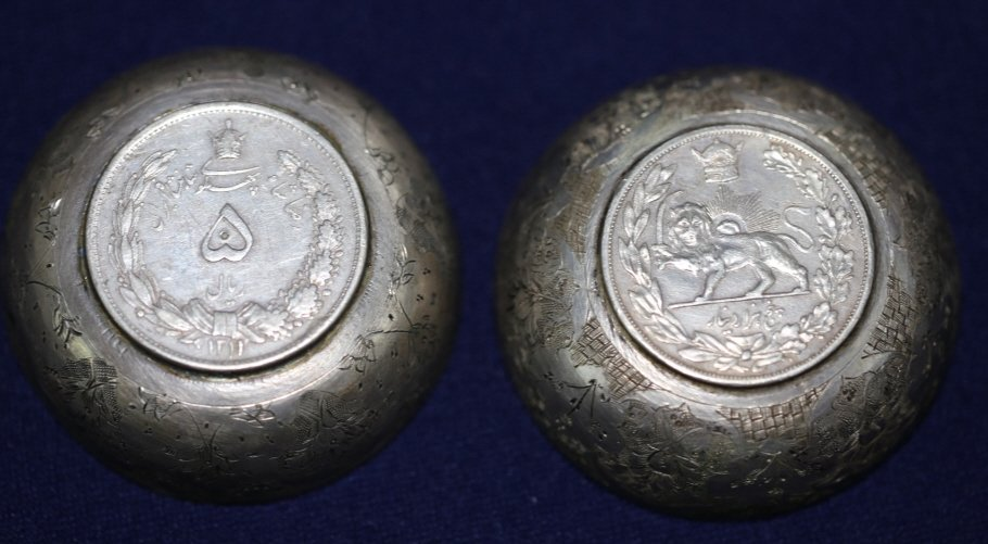 PERSIAN ANTIQUE COIN CENTER SILVER BOWLS
