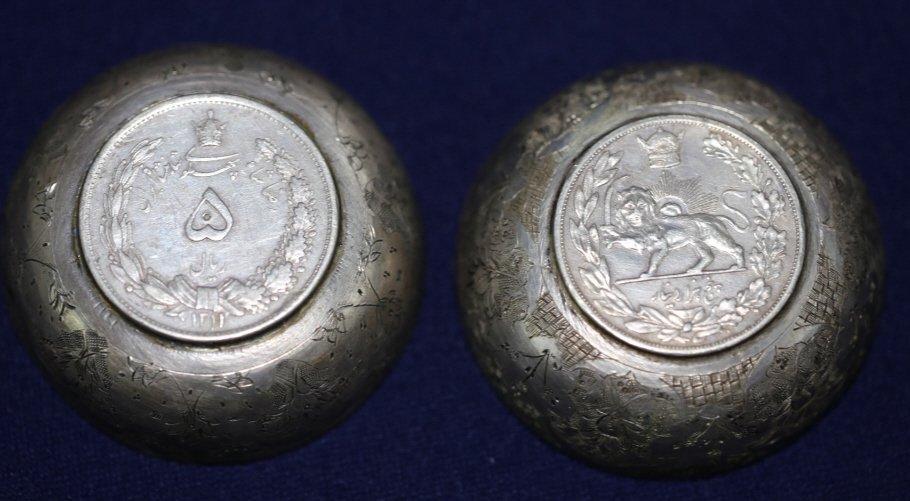 PERSIAN ANTIQUE COIN CENTER SILVER BOWLS
