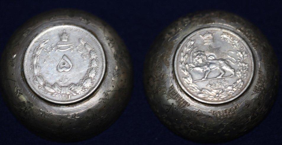 PERSIAN ANTIQUE COIN CENTER SILVER BOWLS - 2