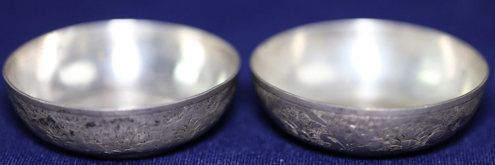 PERSIAN ANTIQUE COIN CENTER SILVER BOWLS - 4