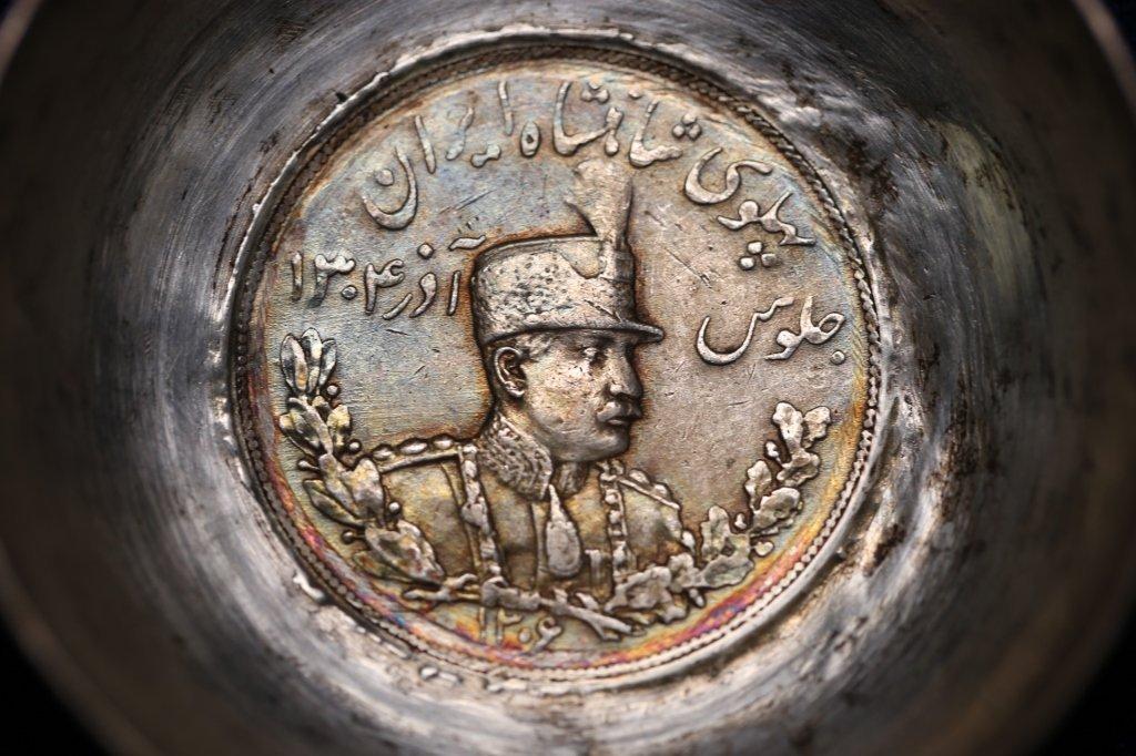 PERSIAN ANTIQUE COIN CENTER SILVER BOWLS - 5