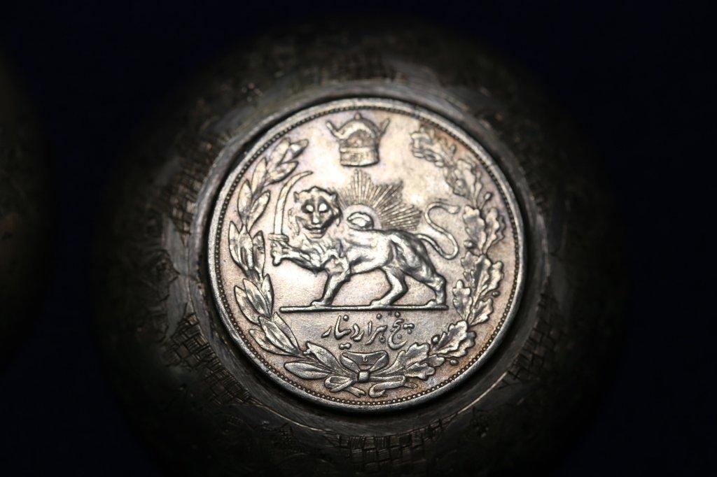 PERSIAN ANTIQUE COIN CENTER SILVER BOWLS - 7