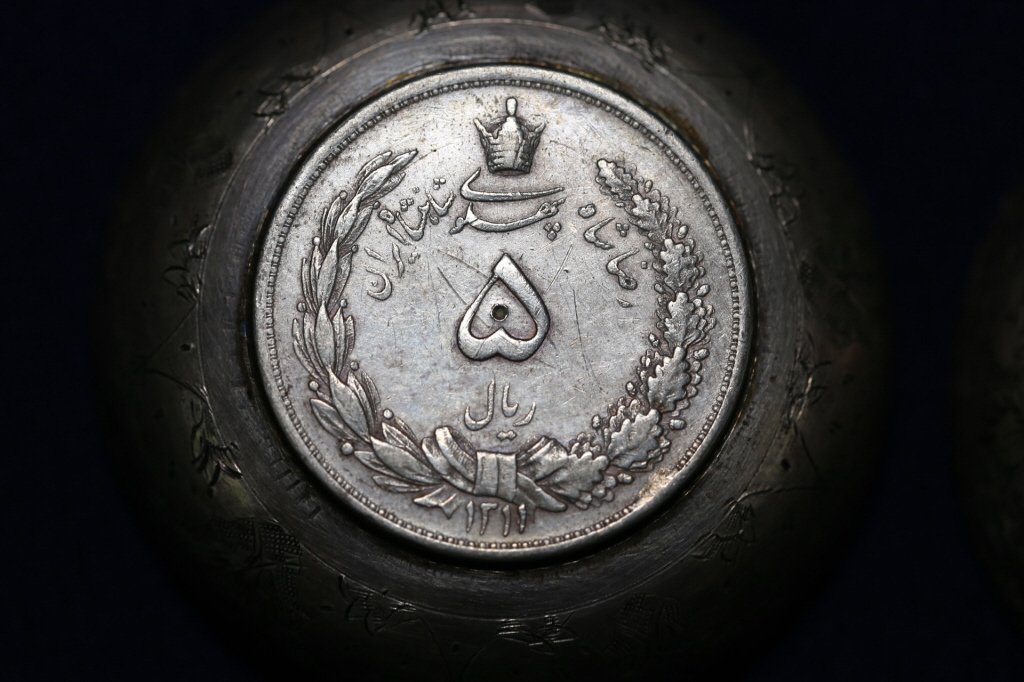 PERSIAN ANTIQUE COIN CENTER SILVER BOWLS - 8
