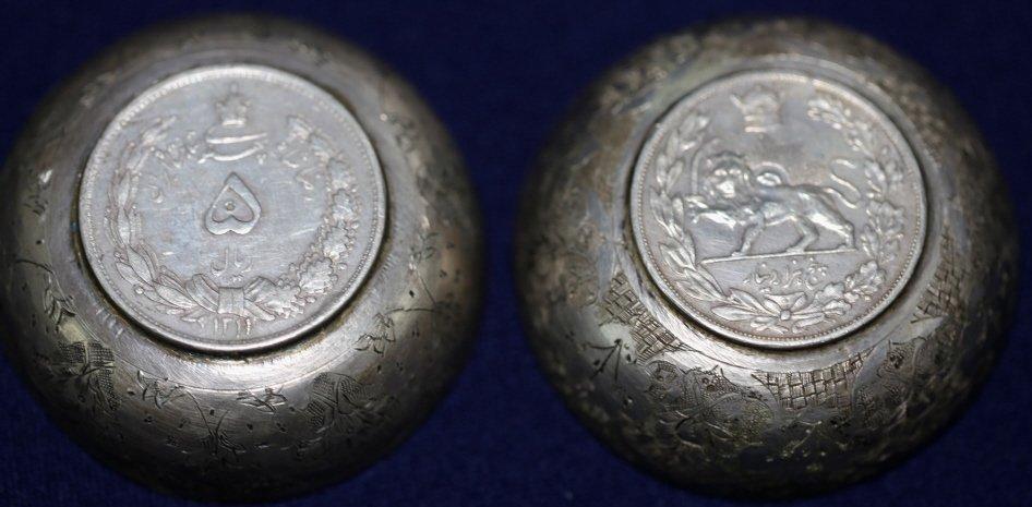 PERSIAN ANTIQUE COIN CENTER SILVER BOWLS - 9