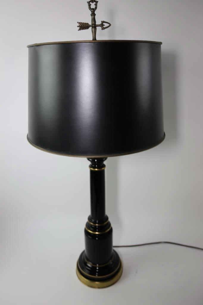 VINTAGE BLACK TOLE LAMP W/ CUSTOM SHADE