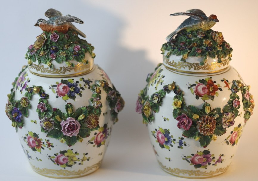 MEISSEN LARGE FLORAL LIDDED PAIR OF VASES