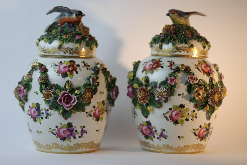MEISSEN LARGE FLORAL LIDDED PAIR OF VASES - 4