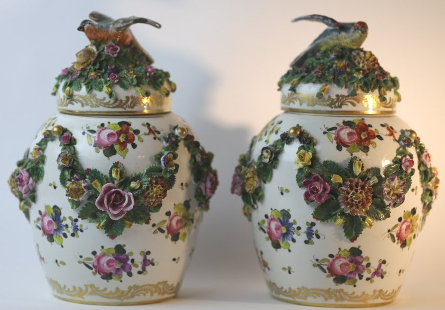 MEISSEN LARGE FLORAL LIDDED PAIR OF VASES - 5