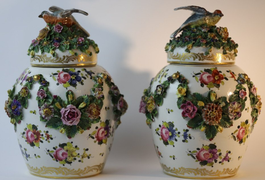 MEISSEN LARGE FLORAL LIDDED PAIR OF VASES - 8