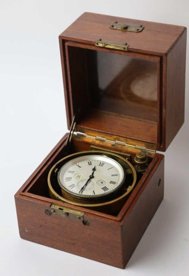 WALTHAM CLOCK CO. CHRONOMETER IN MAHOGANY CASE