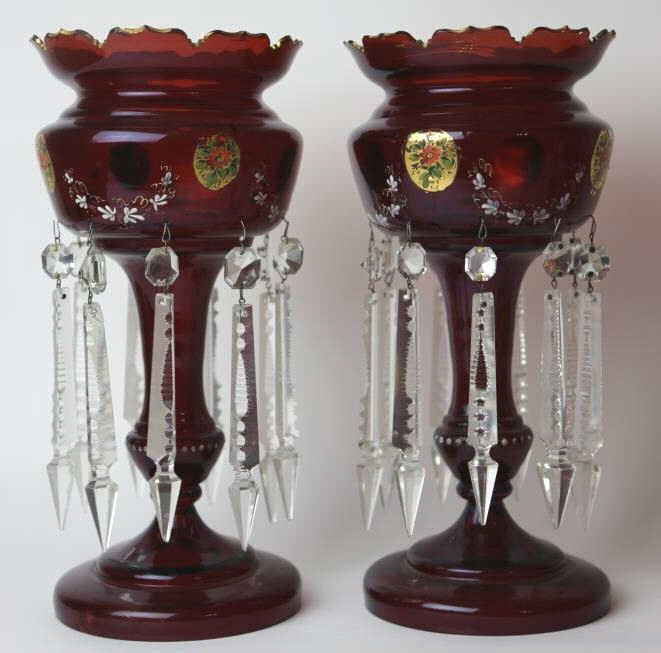 ANTIQUE GILT DECORATED RUBY GLASS  LUSTERS