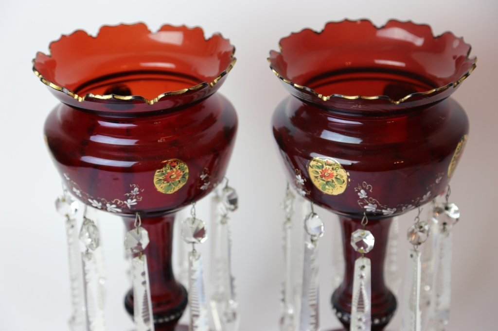 ANTIQUE GILT DECORATED RUBY GLASS  LUSTERS - 5