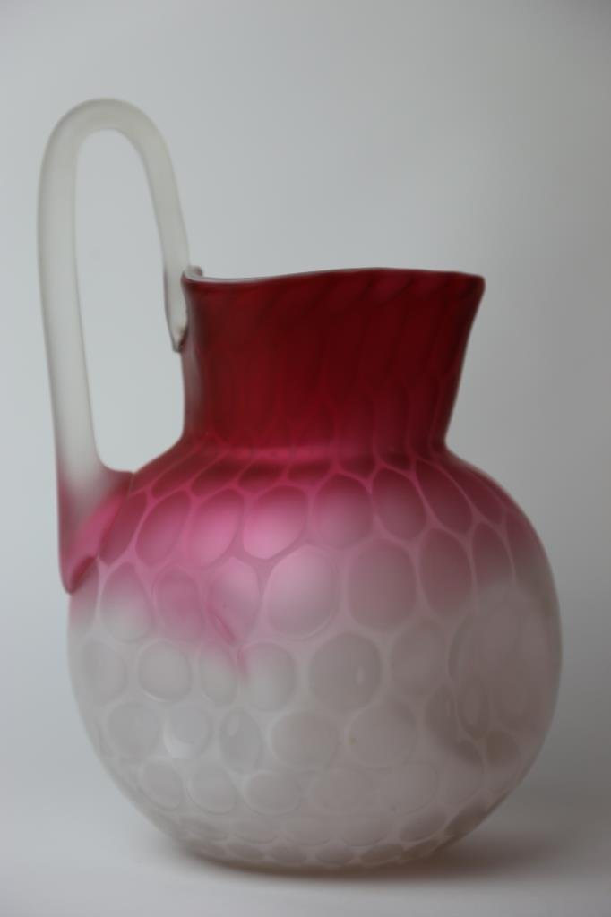 ANTIQUE SATIN GLASS MOTHER OF PEARL PITCHER