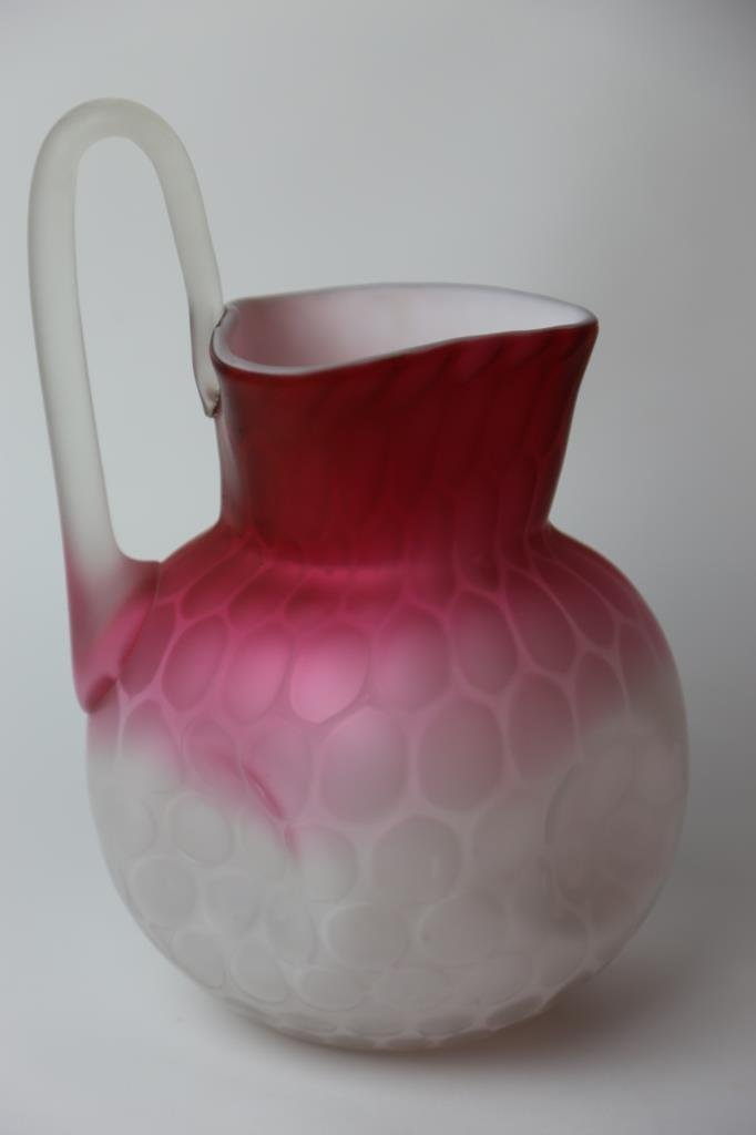 ANTIQUE SATIN GLASS MOTHER OF PEARL PITCHER - 2