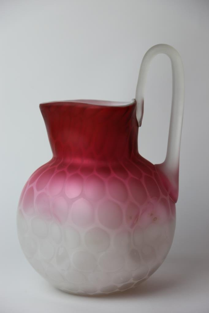 ANTIQUE SATIN GLASS MOTHER OF PEARL PITCHER - 4
