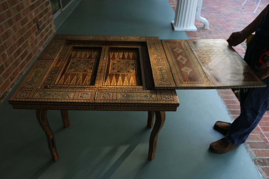 FINE ANTIQUE INLIAD MOROCCAN TRIPLE GAME TABLE - 10
