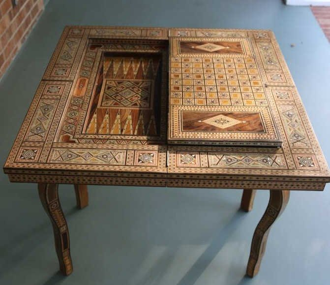 FINE ANTIQUE INLIAD MOROCCAN TRIPLE GAME TABLE