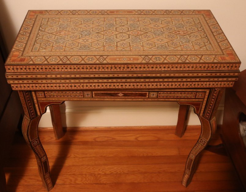 FINE ANTIQUE INLIAD MOROCCAN TRIPLE GAME TABLE - 3