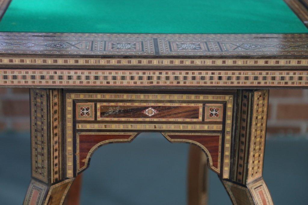 FINE ANTIQUE INLIAD MOROCCAN TRIPLE GAME TABLE - 4
