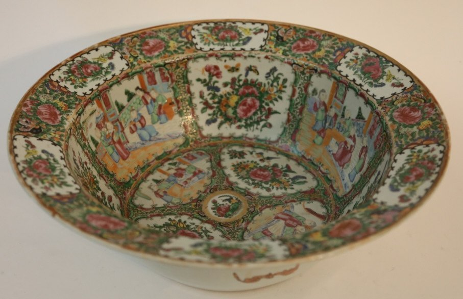 CHINESE ANTIQUE EXPORT PUNCH BOWL - 6